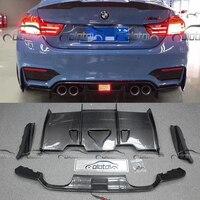 F80 F82 PSM Стиль стайлинга автомобилей Реальные углеродного волокна задний диффузор бампер губы для BMW F80 M3 F82 M4 с светодиодный