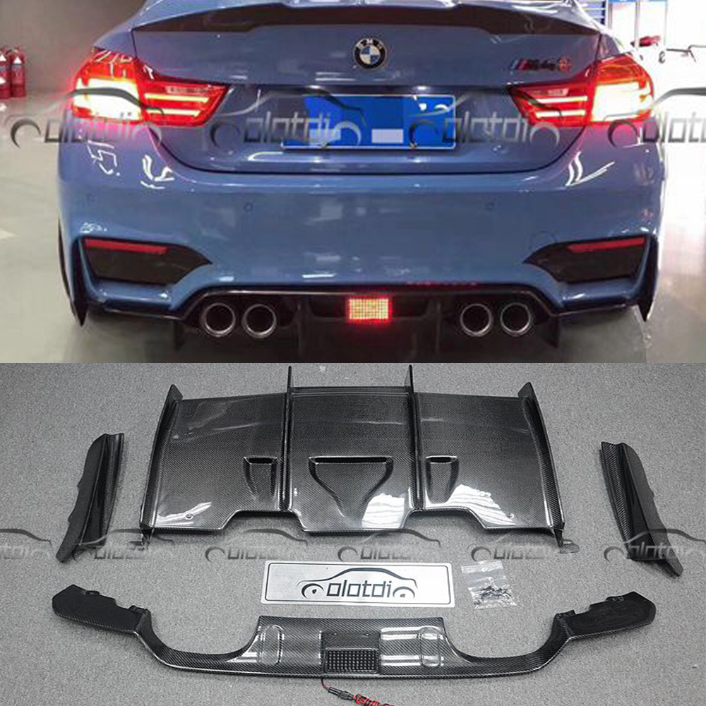 F80 F82 PSM Style Car Styling Real Carbon Fiber Rear Diffuser Bumper Lip for BMW F80 M3 F82 M4 With LED m3 m4 z4 e90 e92 e46 f30 f32 f10 f80 f82 rubber carbon fiber car styling rear lip spoiler roof wing for bmw any car