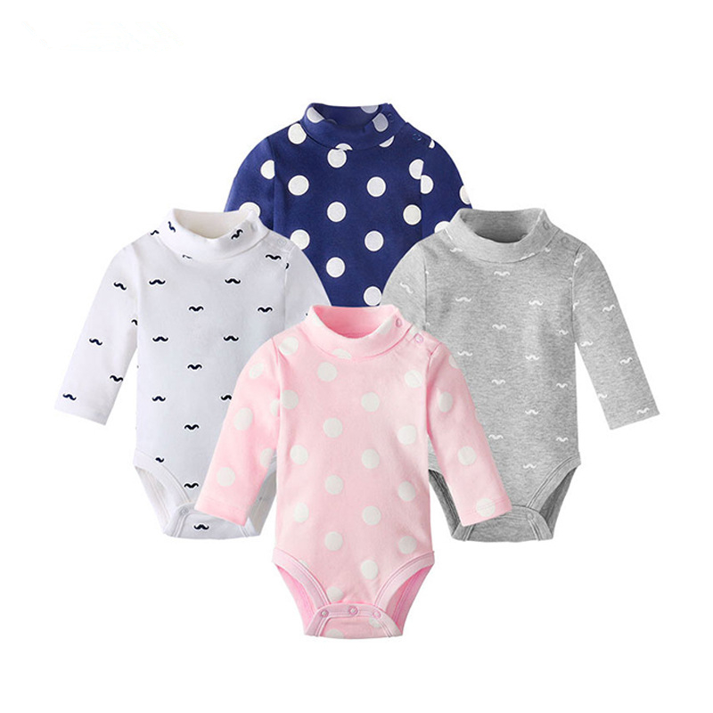 Baby Clothing Newborn Body Baby Rompers Triangle Long Sleeve Cotton Jumpsuit Turtleneck Infant Pajamas New Baby Boys Bodysuit