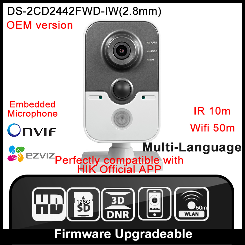 HIK OEM DS-2CD2442FWD-IW(2.8mm) Original English Version IP Camera 4MP Cube POE WIFI Mini Camera IP Camera P2P Onvif HIK cd диск fleetwood mac rumours 2 cd