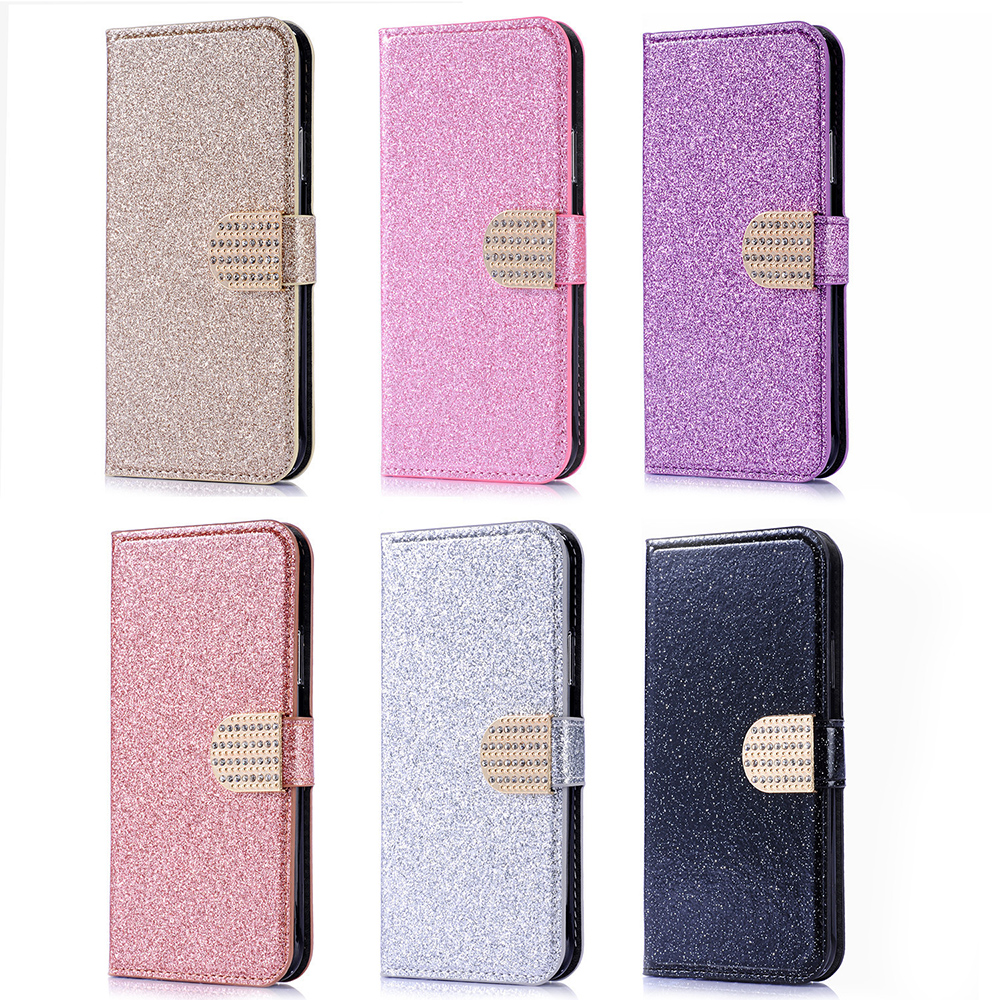 Bling Flip Case For Sony Xperia XA1 Plus Dual G3412 G3416 G3426 G3421 Cover Stand Card Slot Wallet Phone Case Coque bag image