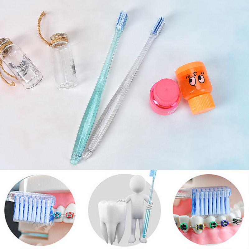 2Pcs Soft Toothbrush Teenage Children Concave Orthodontic Toothbrush Soft Hair Small Head U-shaped Teeth Braces Special Tooth image