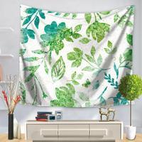 130x150 cm Decorativa Domestica Wall Art Arazzo Poliestere Green Leaves Fiori Ufficio Sciarpa Arazzi Arazzi