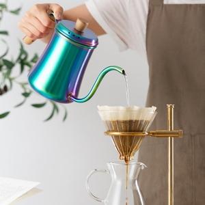 Image 2 - Bunte kaffee topf High kapazität drip kaffee wasserkocher edelstahl brauen kaffee/tee maker lange mund 1L holz griff