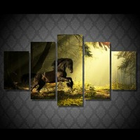 5 Piecesset HD Print Canvas Art Horse Painting Modern Home Decor Wall Art Picture Living Room