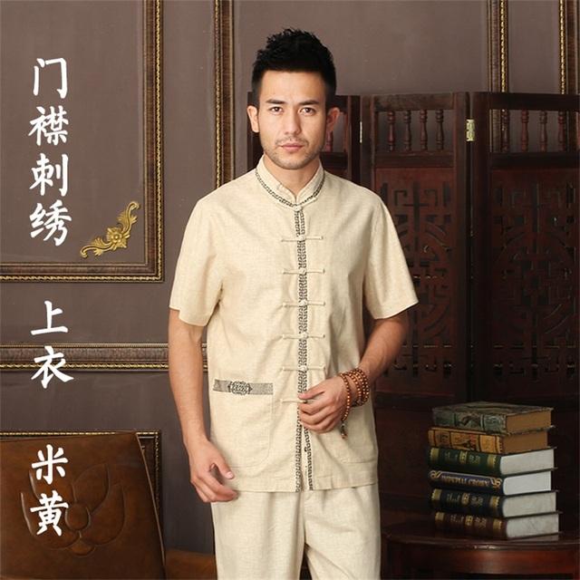 Venda quente 17 Estilo Chinês Tradicional Camisa de Linho Bordado do Algodão Dos Homens kung fu shirt tops com bolso tamanho m l xl xxl XXXL