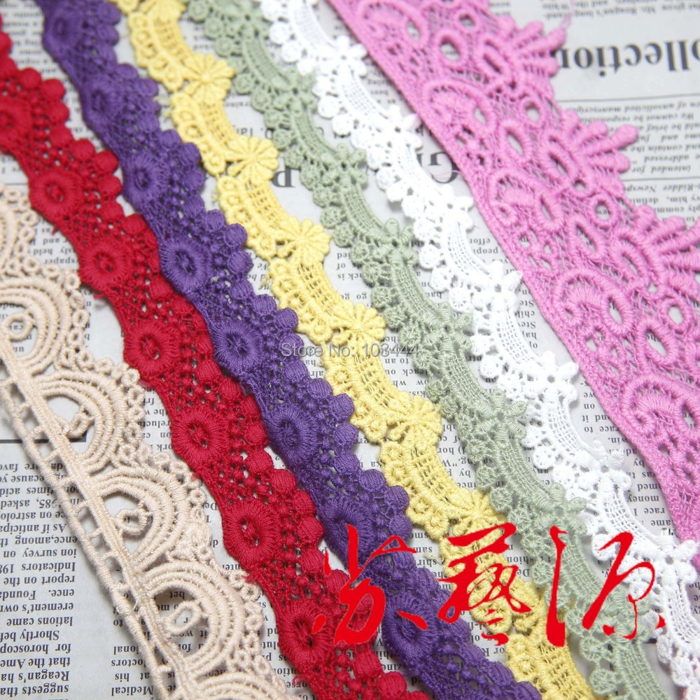 lace trim $0.99 1-2 yard/pack(water soluble lace,cotton lace,gauze embroidered lace) DIY sewing fabric accessories