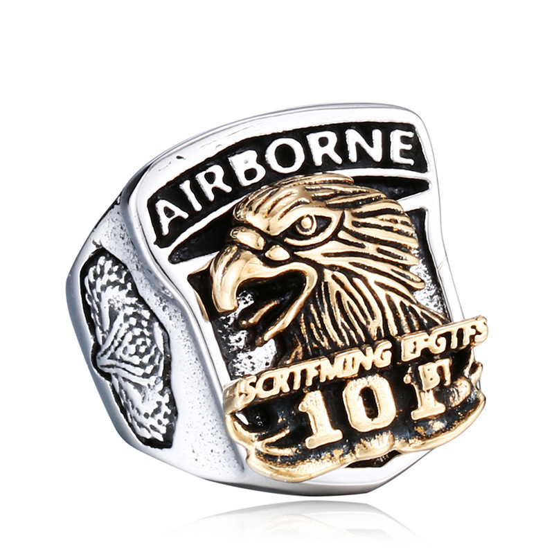 Two Tone Gold Stainless Steel Eagle Hawk Ring Big Wide Casted Titanium US Air Army Rings Men Punk Jewelry Drop Shipping bald eagle