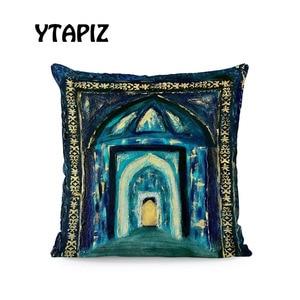 Image 5 - Lua branca Nuvem Estrela Alfabeto Padrão Castelo Ramadan Islam Arábia Saudita Kaseem Mubarek 45X45 Centímetros De Veludo Almofada Decorativa travesseiro