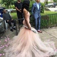 Сексуальное вечернее платье русалки с бретельками, милое с открытой спиной, нежно розовый тюль, длинные африканские девичьи платья для выпу