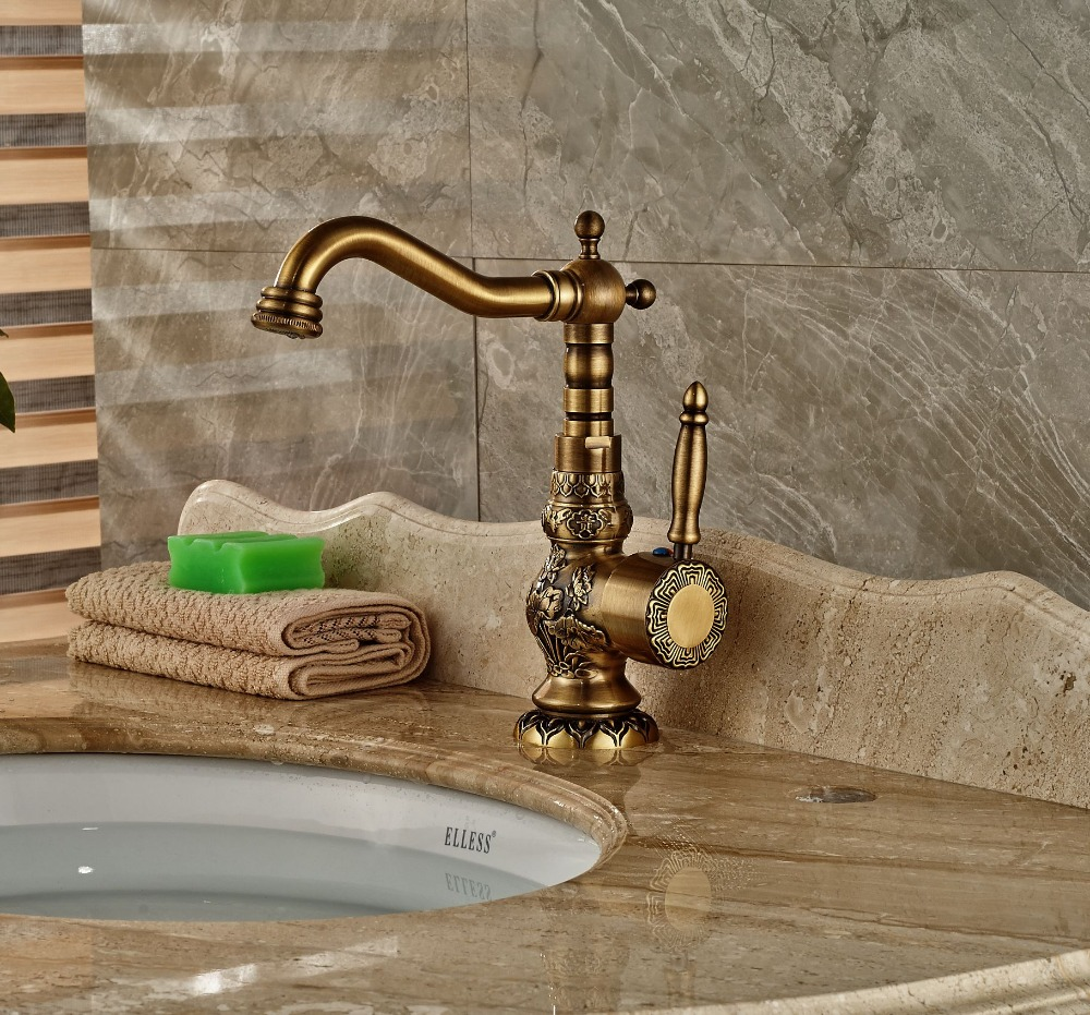 Bathroom Antique Brass Sink Faucet Vanity Tap Deck Mounted Swivel Spout Single Lever One Hole bathroom antique brass sink faucet vanity tap deck mounted swivel spout single lever one hole