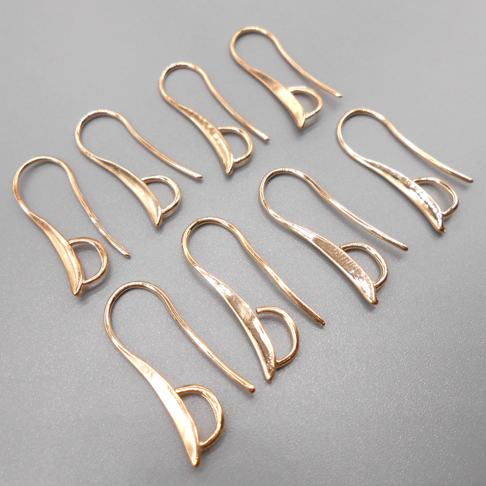 Free Shipping 10PCS Lot Making Design Rose gold Jewelry Findings Hook Earring Pinch Bail Ear Wires For Crystal Beads