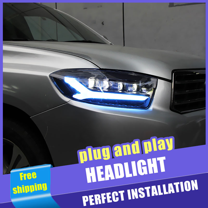 2PCS Car Style LED headlights for Toyota Highlander 2009 2011 for head lamp LED DRL Lens