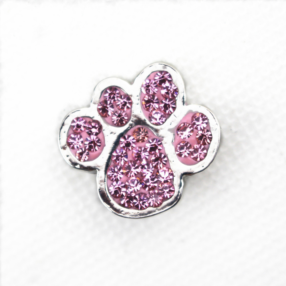 10pcs Pink Rhinestone Crystal Dog Paw Snap Buttons Charms Fit 18mm Ginger Buttons Snap Bracelet&bangles Diy Snap Jewelry Mild And Mellow