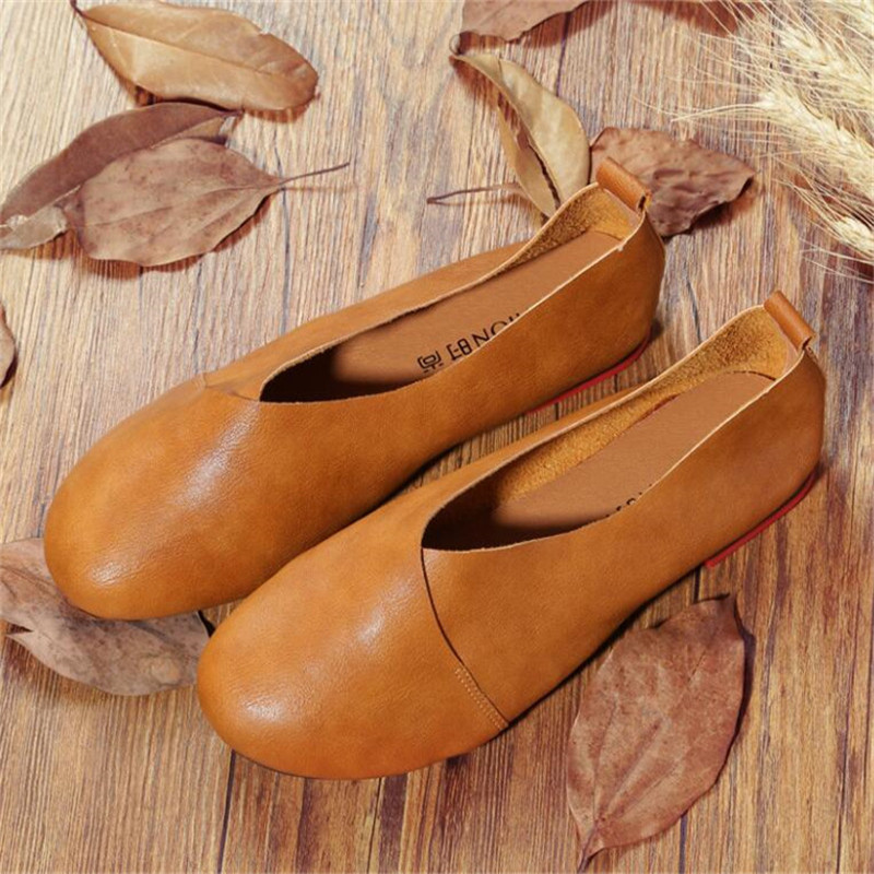 2018 Genuine Leather Flat Shoes Woman Hand-sewn Leather Loafers Cowhide Flexible Spring Casual Shoes Women Flats Women Shoes summer women flats shoes casual flat women shoes slips flat women loafers shoes slips leather black flat s women s shoes