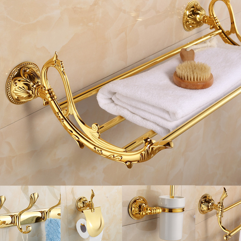 European Gold Brass Bathroom Products Antique Carved Polished Bathroom Accessories Carved Base