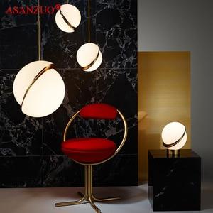 Image 5 - נורדי מודרני לבן כדור בועת led תליון אורות מטבח סלון מסעדת חדר שינה זהב טבעת תליית מנורה