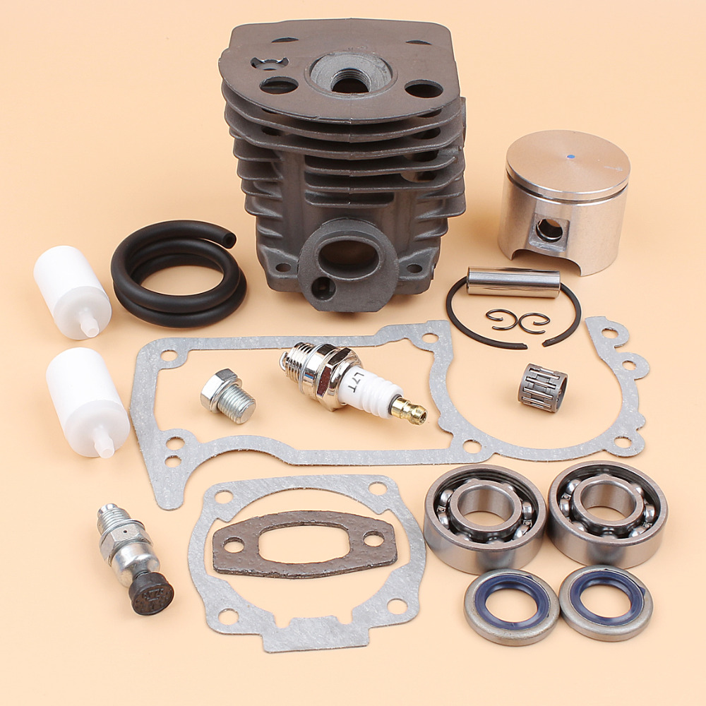 46MM NIKASIL Cylinder Piston Crank Bearing Gasket Kit For HUSQVARNA 51 55 55 Rancher Chainsaw Parts with Decompression Valve