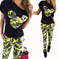 2016 Camouflage Mickey Women Suit Two Piece Set Tracksuit Black T Shirt and Pants Set Fashion Sweat Suits Women Outfit Clothing