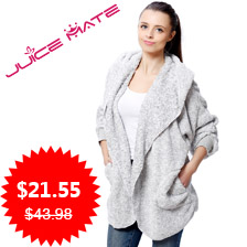 2016 Spring Fashion Oversized Fleece Cardigan Women Two-Tone Poncho Capes Batwing Open Front Shrug Cardigan With Hood And Pocket