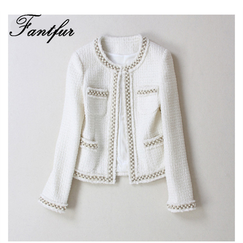 Handmade 2018 Runway Designer Luxury Fashion Blazer Suits O Neck Hidden Breasted White Wool Beading Tweed Short Coat Blazer
