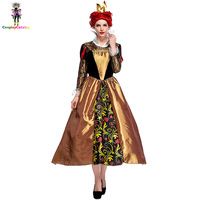 Halloween Queen of hearts Adult Dresses Alice in Wonderland Vicious Queen Costume Retro Palace Women Costumes Female Uniforms