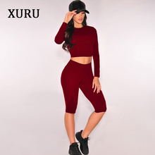 XURU Summer Playsuits Women Jumpsuit Rompers High Stretchy Solid Two Piece Set Long Sleeve Fitness Casual 2018