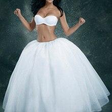 Дешевые белые свадебные аксессуары трапециевидной формы бальное платье из тюля с капюшоном кринолин юбка Регулируемая Талия юпон