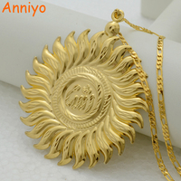 NEW Big Allah Necklace Pendant Link Chain 18K Gold Plated Islam Large Allah Jewelry Women Men