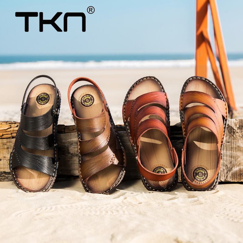 TKN Men Cow Leather Sandals Outdoor 2019 Summer Handmade Men Shoes Breathable Casual Shoes Footwear Walking Sandals Man 6623