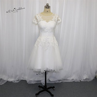 Vestido de Noiva Curto Cheap China Bride Dresses 2018 Short Wedding Dress Cap Sleeve Lace Wedding Gowns Knee Length Buttons