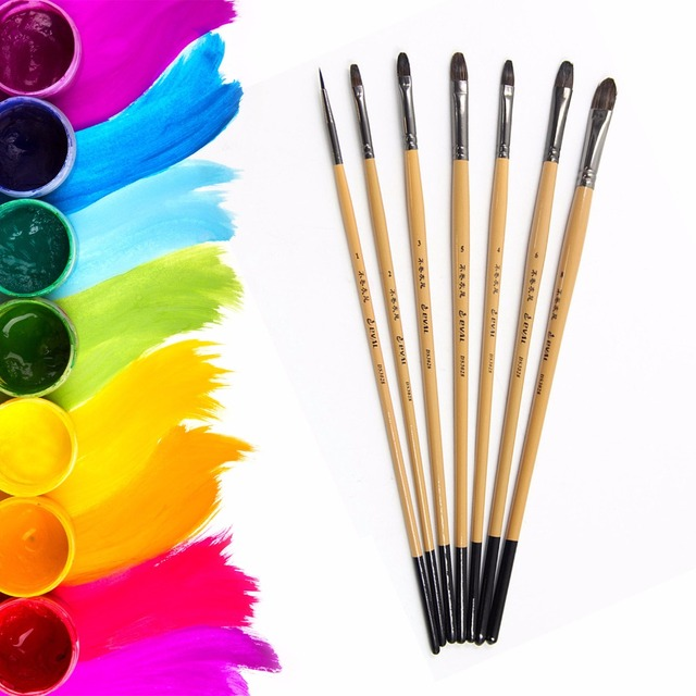 Eval 7pcs Artist Squirrel Hair Watercolor Paint Brush Set ...