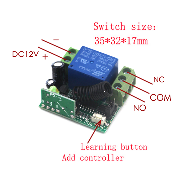 US $18 5 10% OFF|MITI Remote Control Switches 12V DC 1CH Relay RF Receiver  Long Range Transmitter 300 3000m Learning Latched 315/433 SKU: 5374-in