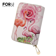 FORUDESIGNS Cartoon Women Business PU Card Holder Girls Money Purses Bags Flower Flamingo Prints Pattern Fashion Cluth Wallets