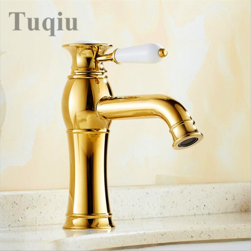Free Shipping Golden/Chromium Brass Basin Faucets Bathroom Faucet Sink Faucet Basin Mixer Tap Deck Mounted цена