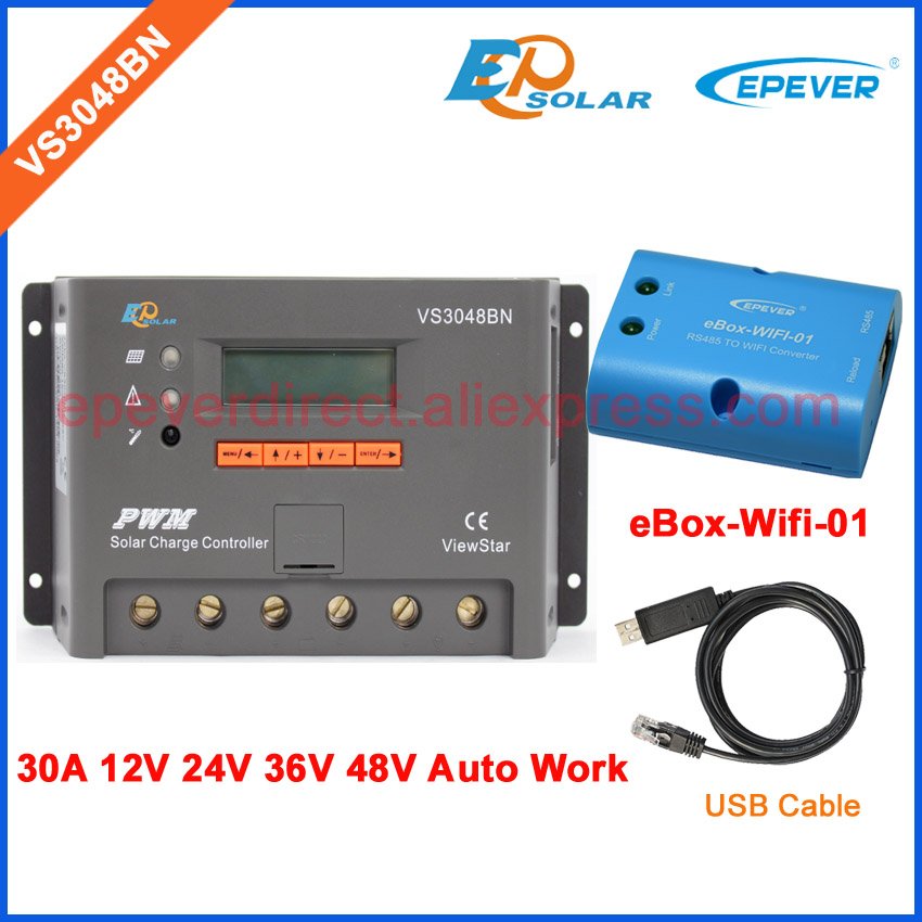 12v 24v 36v 48v auto type solar PWM epever charging regulator VS3048BN with USB cbale and APP use Wifi BOX 30A 30amp vs3048bn 30a 24 48v auto pwm controller network access computer control can connect with mt50 for communication