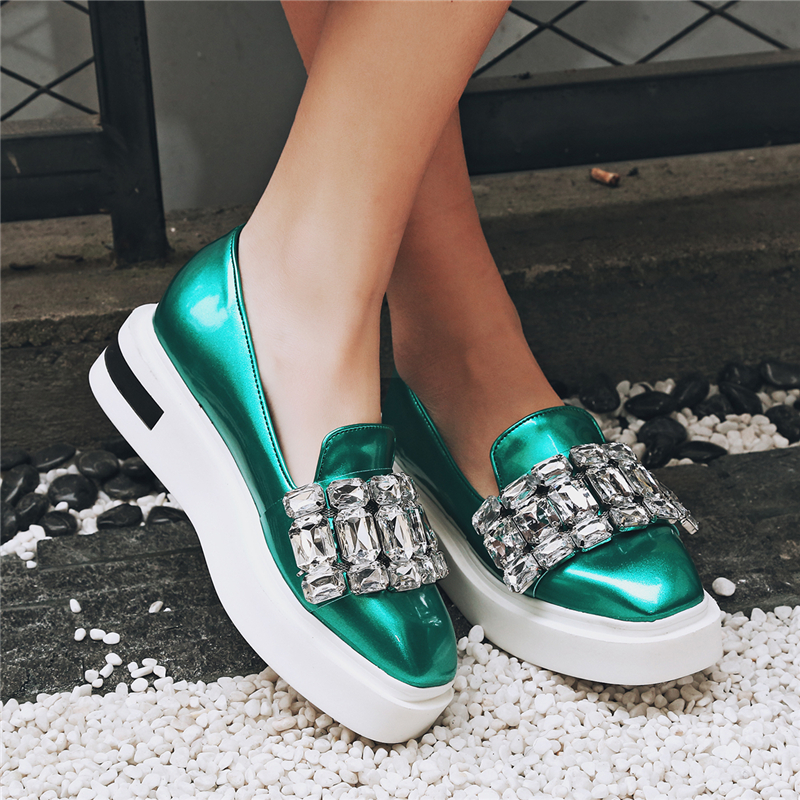 Appartements Size42 Silver Stylesowner Grand Strass 43eu Femmes De Mocassins Sexy vert Grey Cristal Chaude Talons Épais Mode Casual Plate forme Chaussures Pus I9DHWE2
