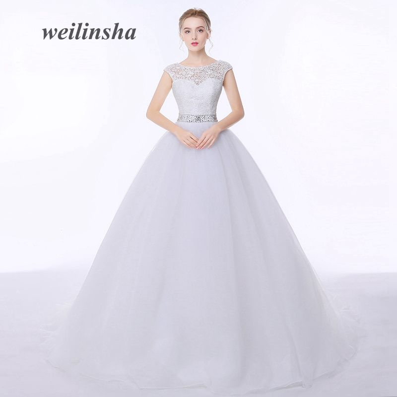 weilinsha 2017 In Stock Princess Wedding Dresses Appliques Beaded Sashes Tulle Bridal Gowns Vestidos de Novia Plus Size Custom