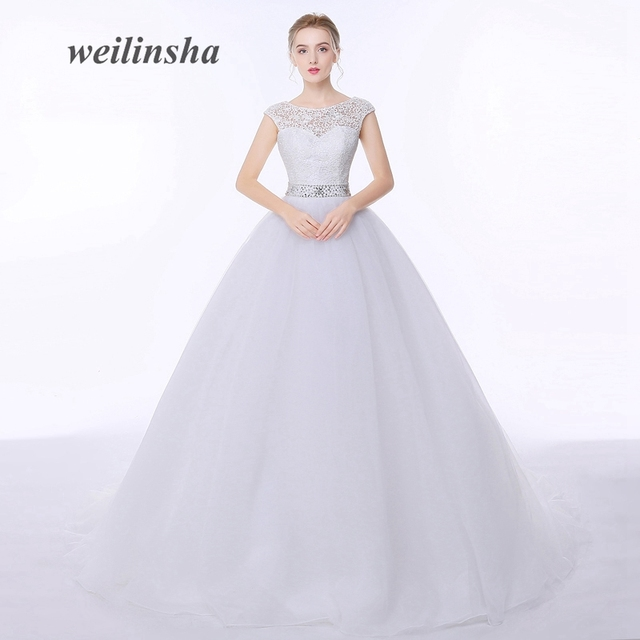 Weilinsha In Stock Princess Wedding Dresses Appliques Beaded Sashes