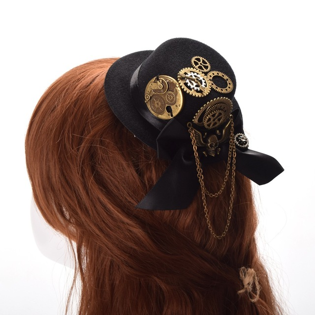 1f56673ee765b Women Vintage Black Steampunk Top Hat Hair Clips Gothic Skull Gear Headwear