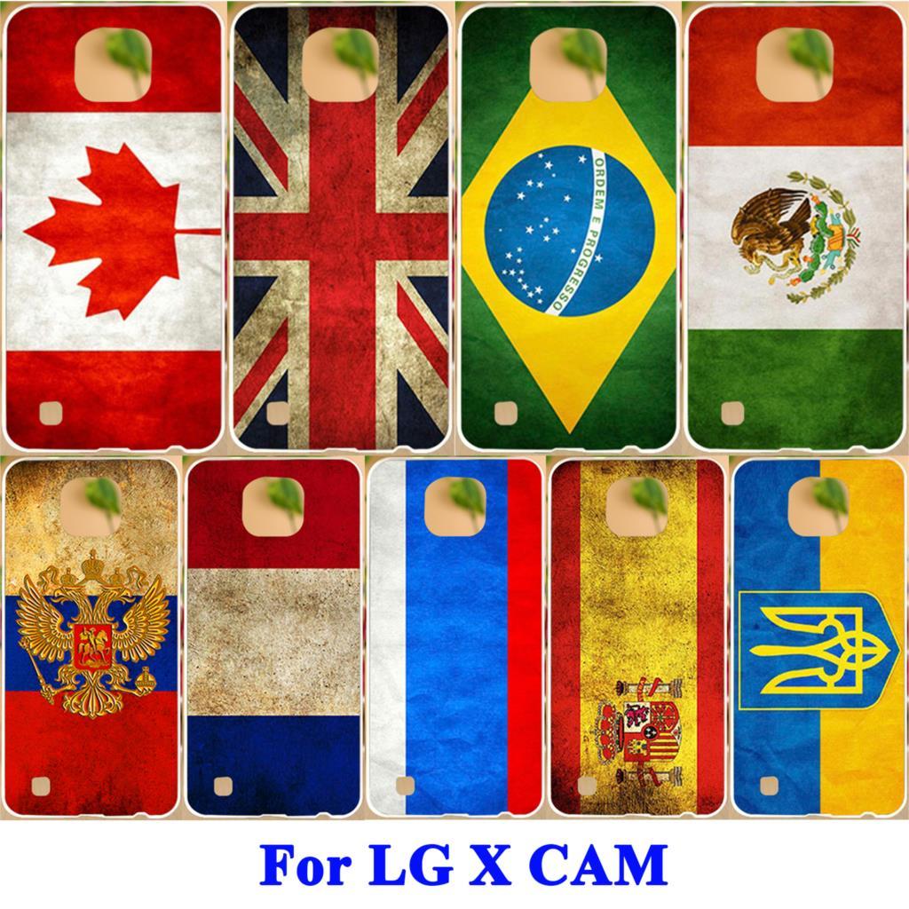 AKABEILA Soft TPU Hard PC Covers Cases For LG X Cam F690 K580 K580Y X-cam K580 K580DS Painted Flags Cover s Sheaths Skin Capa