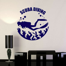 Scuba Diving Underwater Diver Water Bubbles Wall Stickers Vinyl Home Decor Room Ocean Sea Decals Removable Mural A193