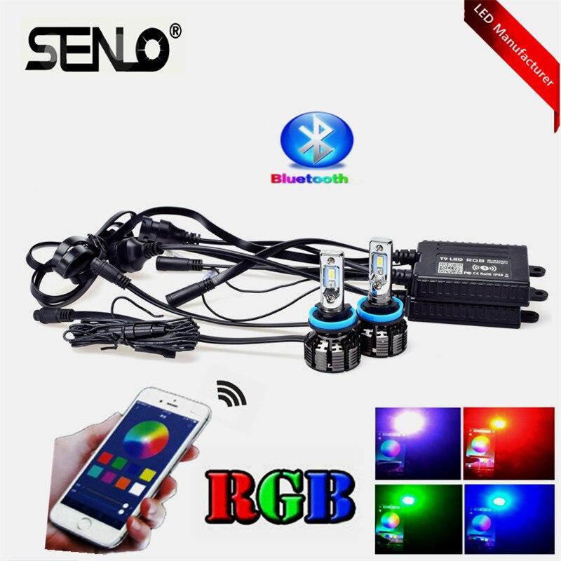 Haute qualité H7 LED Multi couleurs changeant le RVB bluetooth ampoule lampe 9004 P20d P22d H8 H11 9005 9006 H7 H4 HB3 HB4 5202