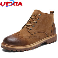 UEXIA Winter Men Warm Fur Plush Boots Men Fashion Brogue Shoes Men Casual Leather Work Safety