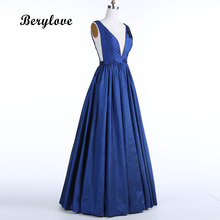 BeryLove Long Dark Navy Satin Evening Dresses 2018 Enkel Aftonklänning Kvinnor Formell Aftonklänningar Plus Size Prom Party Dress
