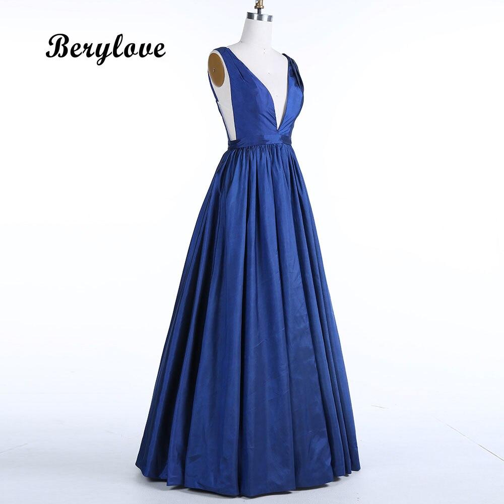 BeryLove Długie ciemne granatowe satynowe suknie wieczorowe 2018 - Suknie specjalne okazje - Zdjęcie 3