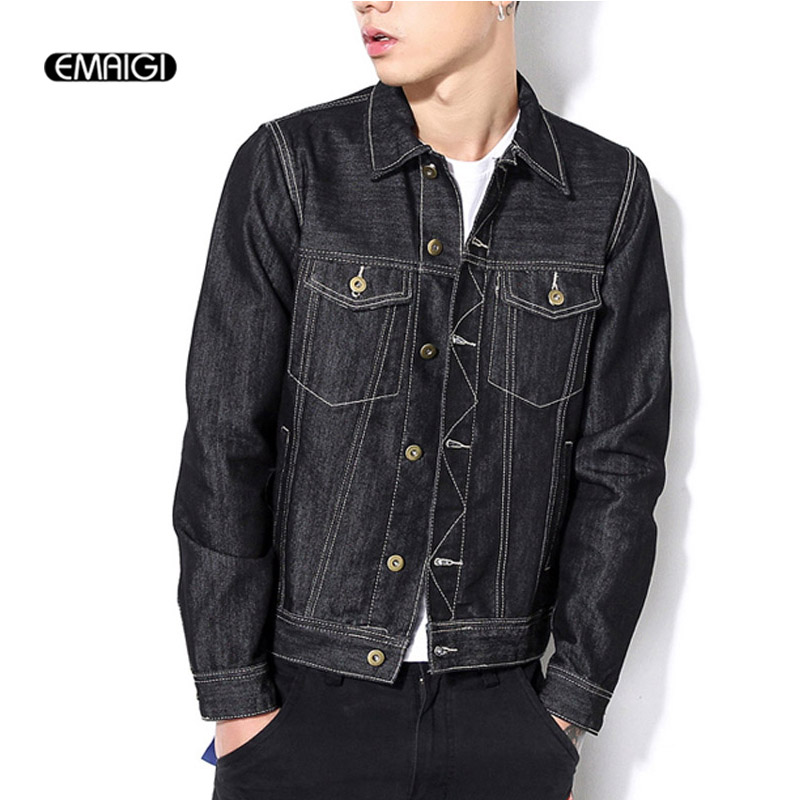 2017 New Spring Men Denim Jacket Autumn Fashion Casual Slim Jean Jacket Coat Large Size Male
