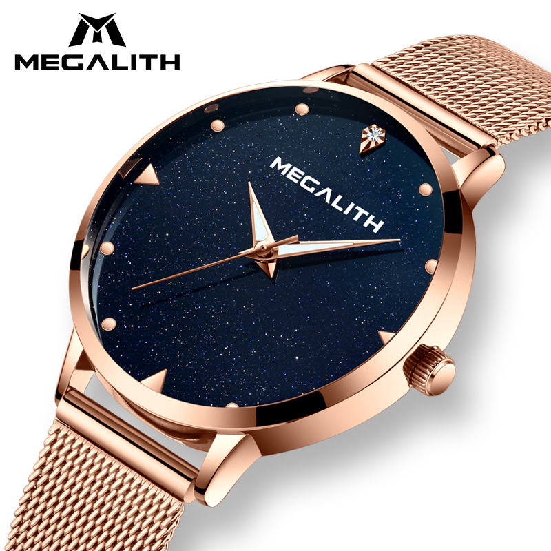 MEGALITH Rose Gold Ladies Watches Women Luxury Waterproof Quartz Woman Watches Analogue Luminous Wrist Watches Relogio FemininoMEGALITH Rose Gold Ladies Watches Women Luxury Waterproof Quartz Woman Watches Analogue Luminous Wrist Watches Relogio Feminino