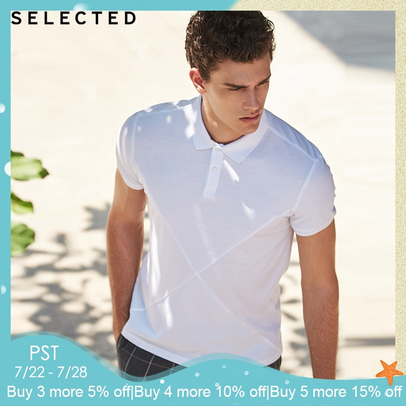 SELECTED Men's Spring & Summer Pure Color Turn-down Collar Short-sleeved   Polo   |41823Z502