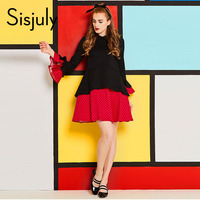 Sisjuly 60s Vintage Dresses Women Ruffles Polka Dots Patchwork Flare Sleeve Lapel Falbala Turn Down Collar